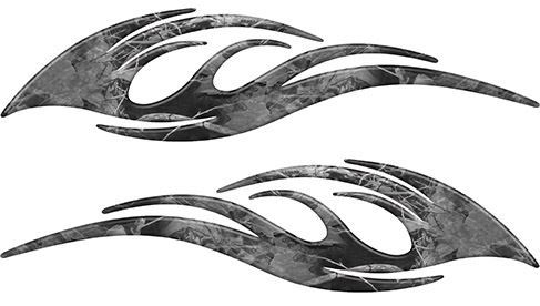 Sleek Flame Decals in Gray Camouflage