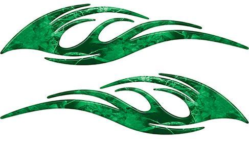 Sleek Flame Decals in Green Camouflage