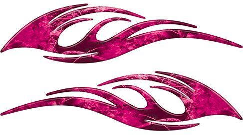 Sleek Flame Decals in Pink Camouflage