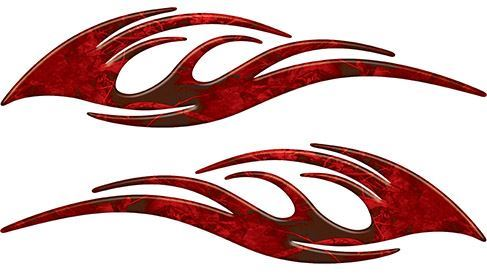 Sleek Flame Decals in Red Camouflage