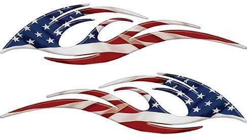 Sleek Flame Decals with American Flag