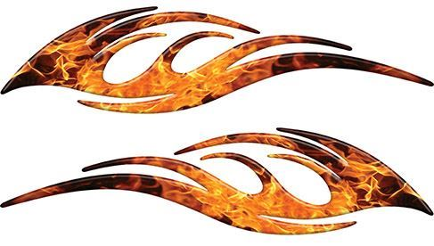 Sleek Flame Decals in Inferno Flames