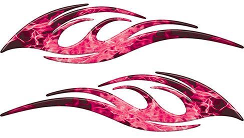 Sleek Flame Decals in Pink Inferno