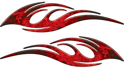 Sleek Flame Decals in Red Inferno