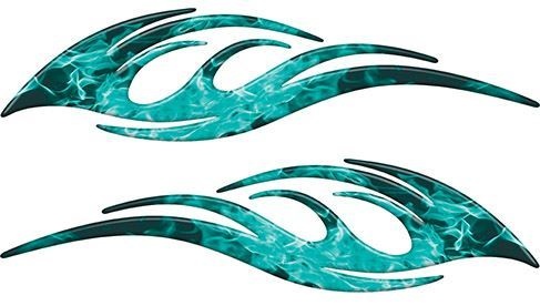 Sleek Flame Decals in Teal Inferno