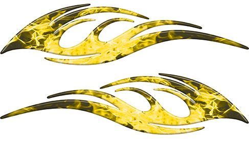 Sleek Flame Decals in Yellow Inferno