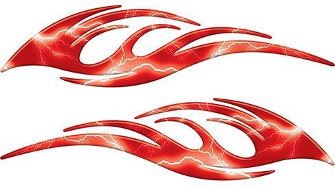 Sleek Flame Decals in Red Lightning
