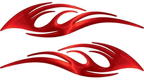 Sleek Flame Decals in Red