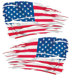 Distressed Tattered American Flag Decals USA