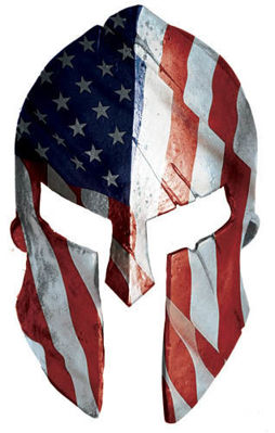 American Flag Spartan Helmet USA Decal with Rustic Look
