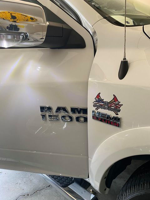 4x4 Firefighter Edition with Fire Ace Flag on White Ram 1500