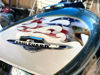 Screaming Eagle Head Tribal Flag on Motorcycle Tank