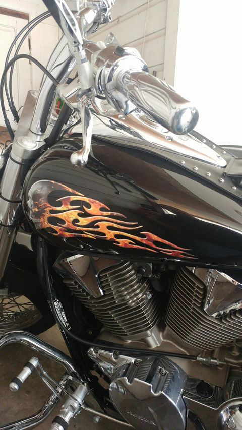 Tribal Style Evil Skull Flame Inferno on Black Motorcycle Tank