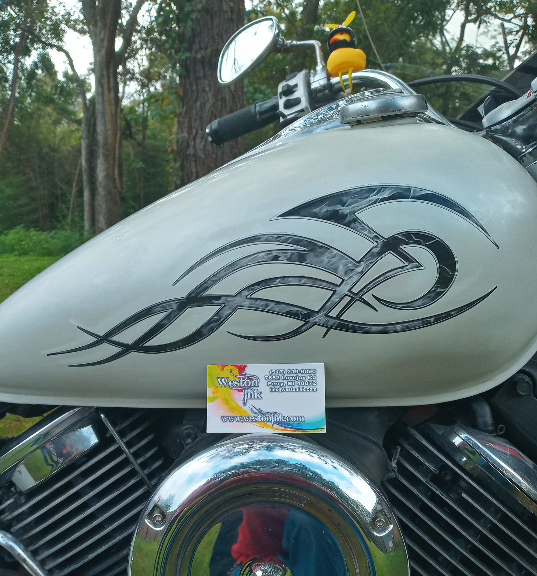 Tribal Flame Decals for Motorcycle Tanks, Cars and Trucks in Gray Inferno Flames on White Motorcycle Tank