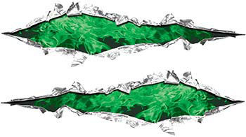 Weston Ink's Ripped Torn Metal Graphic Decal with Inferno Green