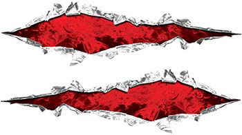 Weston Ink's Ripped Torn Metal Graphic Decal with Inferno Red