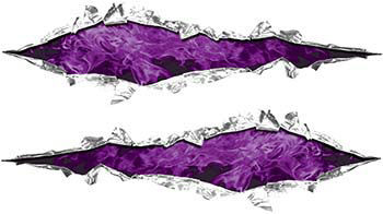 Weston Ink's Ripped Torn Metal Graphic Decal with Inferno Purple