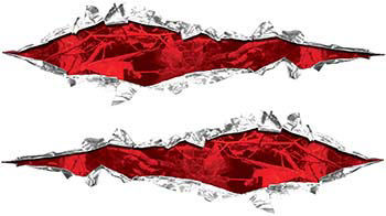 Weston Ink's Ripped Torn Metal Graphic Decal with Red Camo