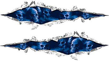 Weston Ink's Ripped Torn Metal Graphic Decal with Skull Blue