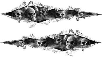 Weston Ink's Ripped Torn Metal Graphic Decal with Skull Gray