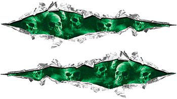 Weston Ink's Ripped Torn Metal Graphic Decal with Skull Green