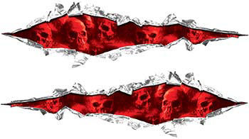 Weston Ink's Ripped Torn Metal Graphic Decal with Skull Red