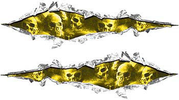 Weston Ink's Ripped Torn Metal Graphic Decal with Skull Yellow