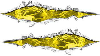 Weston Ink's Ripped Torn Metal Graphic Decal with Camo Yellow