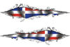 Weston Ink's Ripped Torn Metal Graphic Decal with Dominican Republic Flag