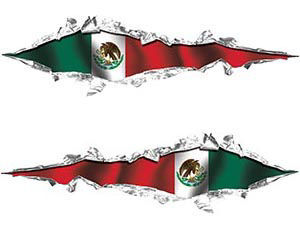 Weston Ink's Ripped Torn Metal Graphic Decal with Mexico Flag