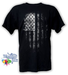 Distresses American Flag Back and White T-Shirt