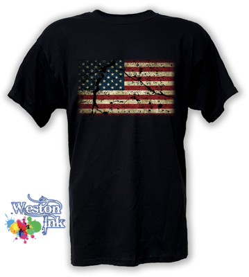 Grunge Cracked American Flag T-Shirt