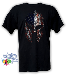 American Flag Spartan Helmet Distressed Patriot T-Shirt