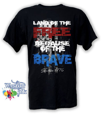 Land of the Free Because of the Brave 1776 Patriotic T-Shirt with Black and White American Flag