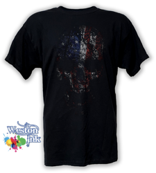 American Reaper Skull Flag Distressed Patriot T-Shirt