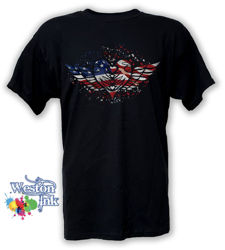 Winged Heart American Flag Distressed Patriotic T-Shirt